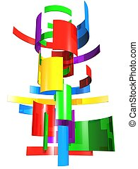 Multi color square pieces transforming to a shape - Colorful...
