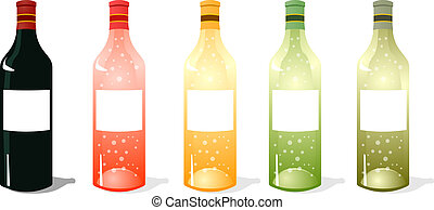 Multi Color Wine Bottles Pack - A vector illustrations pack...