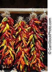 multi colorato, peperoncino, ristras