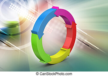 Multi colored arrow circle