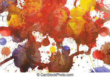 Multi-colored background - Multi-colored paint blots smeared...