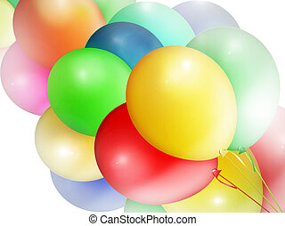 Multi-colored balloons.