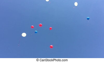 Multi colored balloons flying up in the sky
