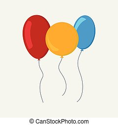 Multi-colored balloons in a flat style