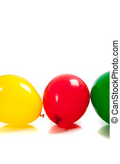 Multi-colored balloons on white