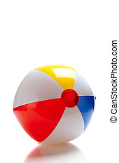 Multi-colored beach ball - A multi-colored beach ball on a...