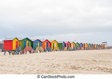 Multi-colored beach huts at Muizenberg in Cape Town, Western...