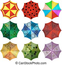 Multi colored beach umbrellas. Vector illustration.