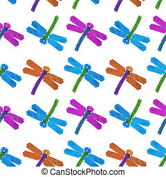 multi-colored beaded dragonfly on a white backdrop, beadwork...