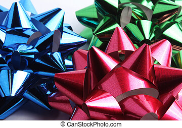 multi-colored bows for gifts