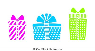 Multi-colored Boxes With Gifts For Birthday, Christmas, New Year. Gift Holiday Packaging. Set Of Funny Gift Boxes. Vector Image Isolated On A White Background.
