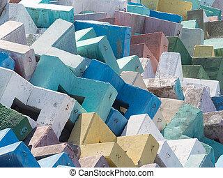 Multi-colored bright reinforced concrete blocks