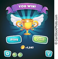 Multi-colored buttons with awarding cup for web site or app