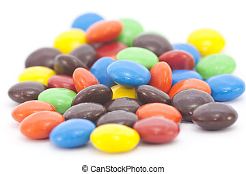 Multi-colored candy isolated on a white background