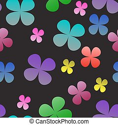 Multi-colored clover on a black background. Seamless pattern. vector illustration.