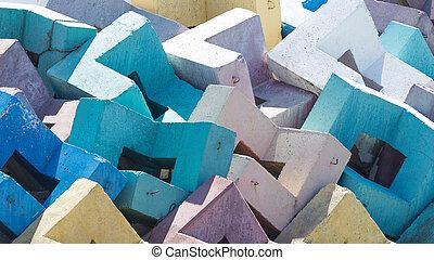 Multi-colored concrete blocks