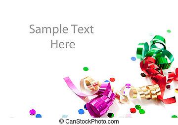 Multi colored confetti and streamers on white -...