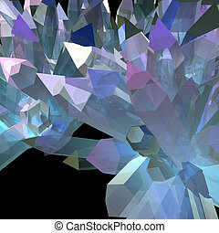 Multi-colored crystals growing on a black background