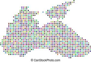 Multi Colored Dotted Black Sea Map - Multicolored dot Black...