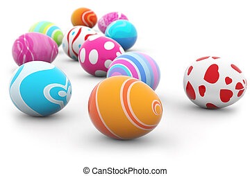 multi colored easter eggs - group of multi colored Easter...