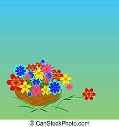 multi-colored, fiori, fondo, verde, cesto