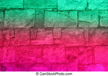 Multi-colored Floodlit Medieval Stone Wall. - Medieval wall ...
