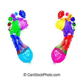 Multi Colored footprints on white background
