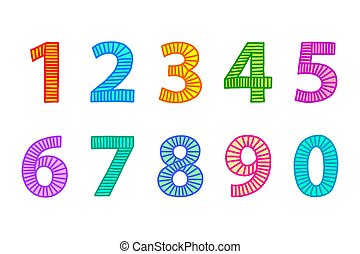Multi colored freehand drawn numbers from one to zero....