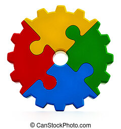 Multi colored gear consisting of puzzle parts
