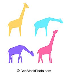 multi-colored, giraffe, set