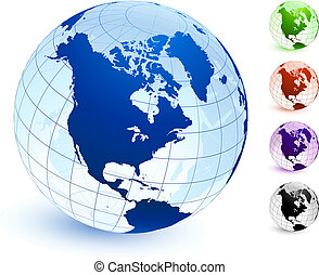 Multi Colored Globe set Original Vector Illustration Globes ...