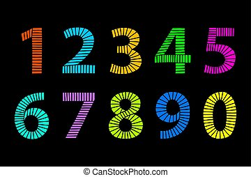 Multi colored hand drawn numbers made of lines over black -...