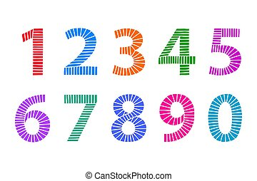 Multi colored hand drawn numbers made of lines over white -...