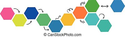 Multi-colored hexagons with arrows on a white background - Vector