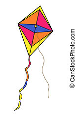 Multi-Colored Kite With Designs - Illustration of a...