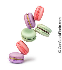 multi-colored macaroons on a white background