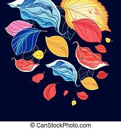 multi-colored, meraviglioso, foglia, illustrazione, cadere