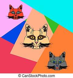 Multi-colored muzzle cats.