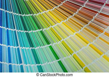 Multi colored pantone fan top view