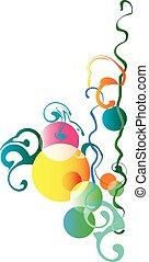 multi-colored pattern of circles, lines, and swirls on white background