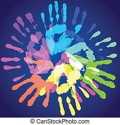 multi-colored prints of the hands, vector illustration