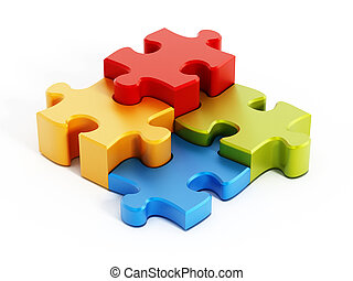 Multi colored puzzle pieces isolated on white background