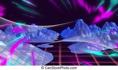 Multi colored rays and topographic of mountains moving - ...