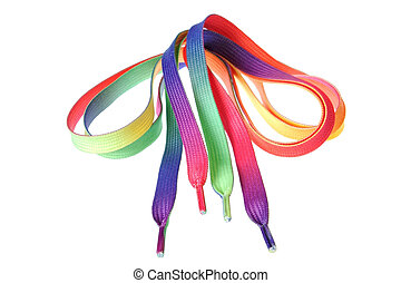 Multi-colored ropes for shoes.