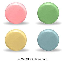 Multi Colored Round Pills on White