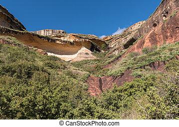 Multi-colored sandstone cliffs at Golden Gate