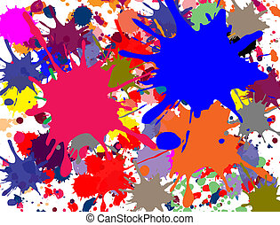 Multi-colored splashed on white background, vector...
