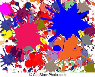 Multi-colored splashed on white background, vector illustration