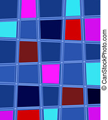 Multi colored squares background - blue, red and purple.