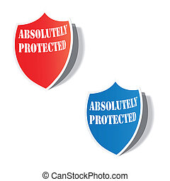 Multi-colored stickers in the form of a shield with the inscription is absolutely protected.